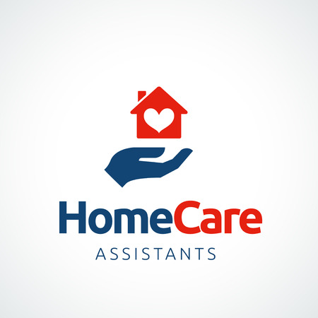 home care: Hand holding a house symbol with heart shape, vector icon. EPS 10 file. Illustration