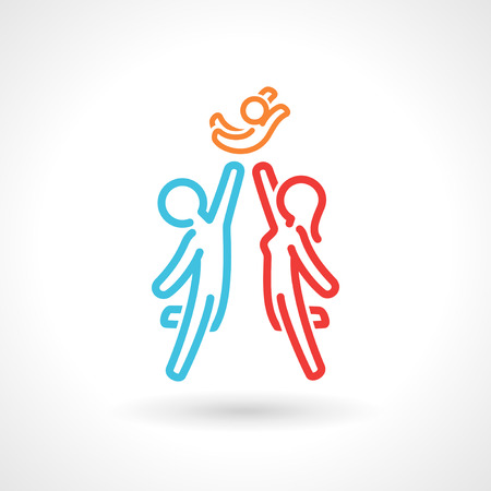 Happy family symbol, vector icon. Stylized simple figures. EPS 10 file.