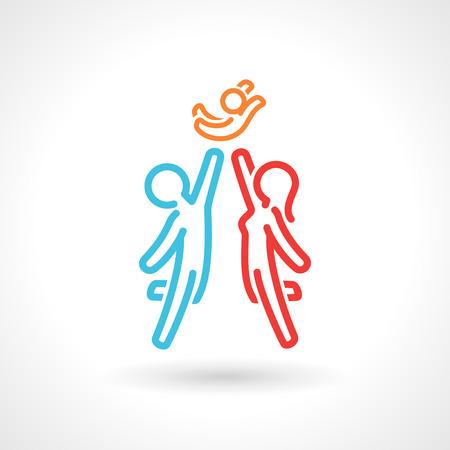 familias unidas: Símbolo de la familia feliz, icono del vector. Figuras simples estilizados. 10 EPS archivo.