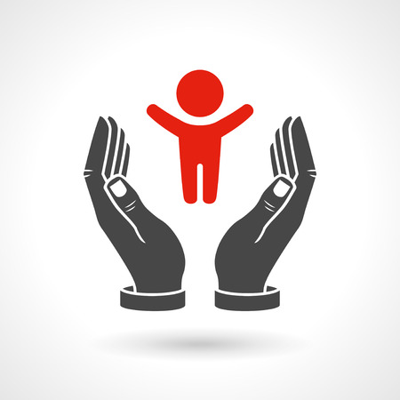 orphan: Hands holding a baby symbol, vector icon.