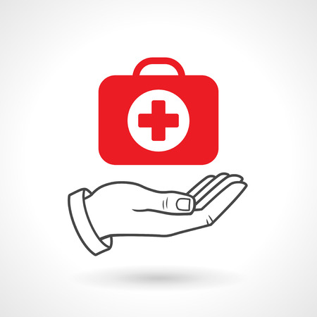 first aid kit: Hand holding a first aid kit. Vector icon, health concept. Illustration