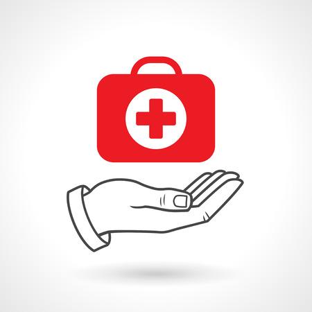 erste hilfe koffer: Hand mit einem Erste-Hilfe-Kit. Vector-Symbol, Gesundheits-Konzept.