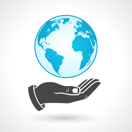 hands holding globe: Hands holding earth globe symbol, vector icon. EPS 10 file.
