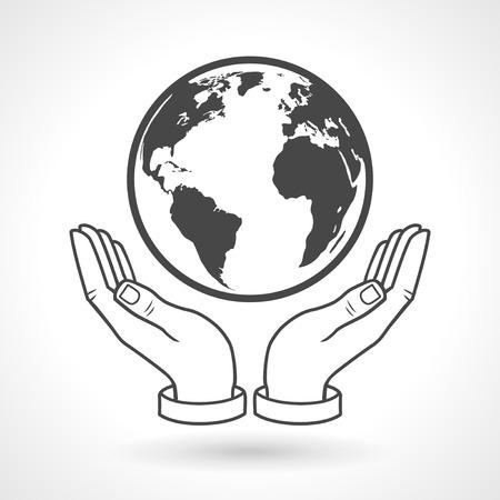 지구 글로브 기호를 들고 손
