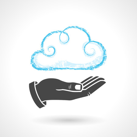 Hand drawn cloud symbol with a hand. Vector drawing of cloud computing concept. EPS 10 file. Vector