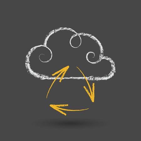 Hand drawn cloud computing concept with arrows on chalkboard. Vector