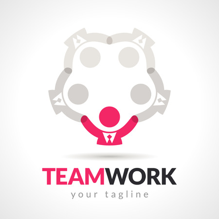 lider: Vector de negocios trabajo en equipo, concepto de liderazgo empresario. Vectores