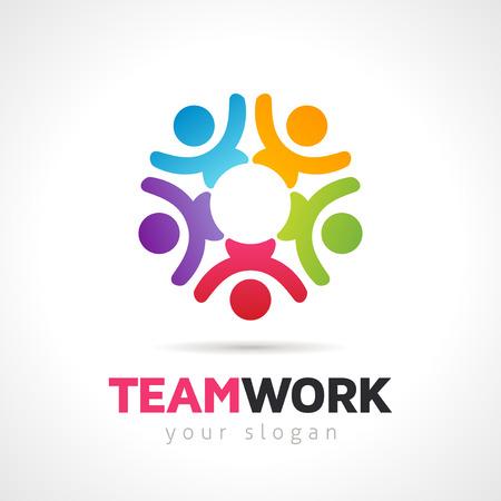 Concepto de trabajo en equipo de vector, plantilla de logotipo de símbolo de grupo de personas. Archivo EPS 10.