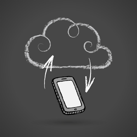 Hand drawn cloud computing concept with cell phone, chalkboard drawing. EPS 10 file. Vector