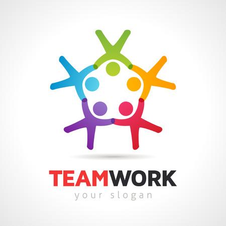 trabajo social: Vector el trabajo en equipo concepto, grupo de personas símbolo Vectores