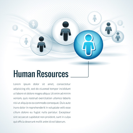 Vector human resources management concept with businessman icons Illustration