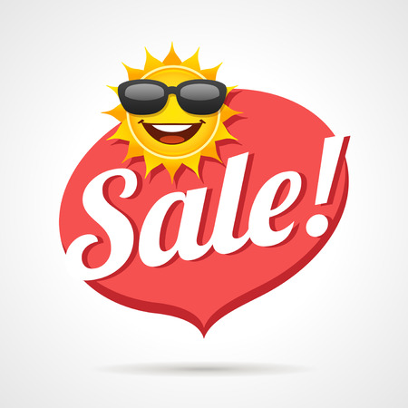 Summer sale label with smiling sun vector cartoon.