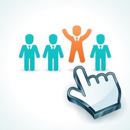 Vector illustratie van de te onderscheiden van de groep concept. Human resources management.