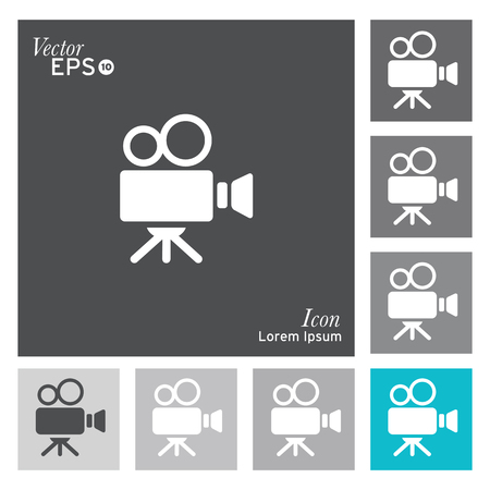 camera: Film camera icon - vector, illustration. Illustration