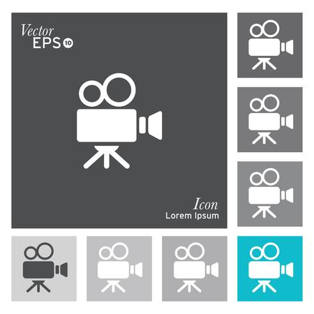 video reel: Film camera icon - vector, illustration. Illustration