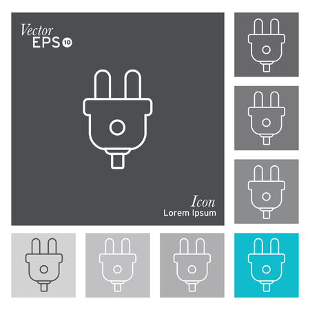 plug adapter: Electric plug icon - vector, illustration.