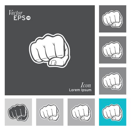 puÑos: Puño icono - vector, ilustración.