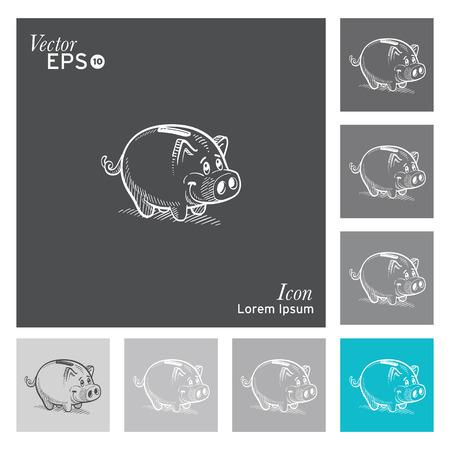 cerdos: Cerdo-vector icono, ilustración. Vectores