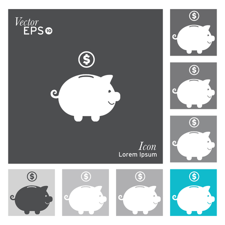 coin bank: Pig icon -vector, illustration.
