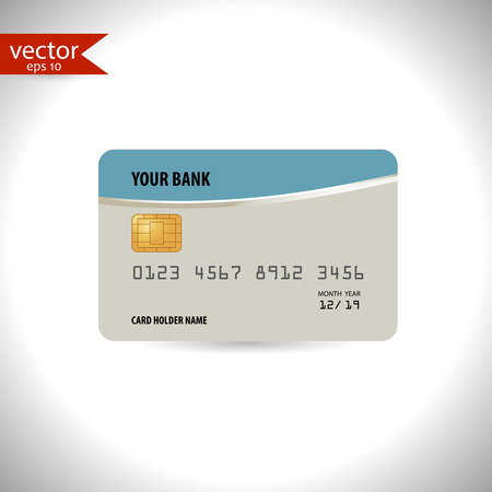 buy icon: Blue and gray credit card Vector, illustration, eps10.