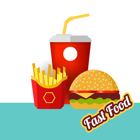 Fast food. Glass of soda with french fries and hamburger on blue background. Vector, illustration
