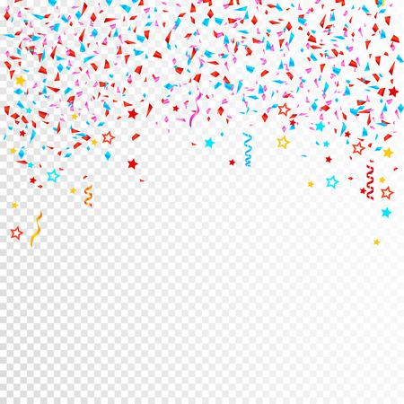 Heller bunter Vektorkonfettihintergrund. Alle Elemente befinden sich auf separaten Ebenen. Vektor, Illustration, eps 10