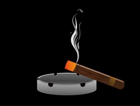 ashtray: Ashtray with cigar