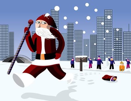 runing: Funny Santa