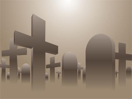 spooky graveyard: Graveyard Illustration