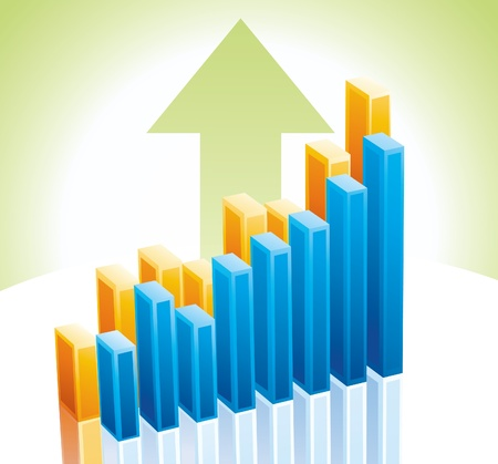 3d business graph Vector