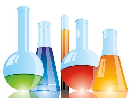 science chemistry: Chemical flasks