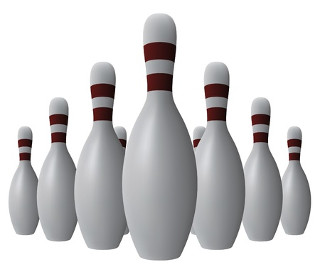 on strike: Vector ten bowling pins
