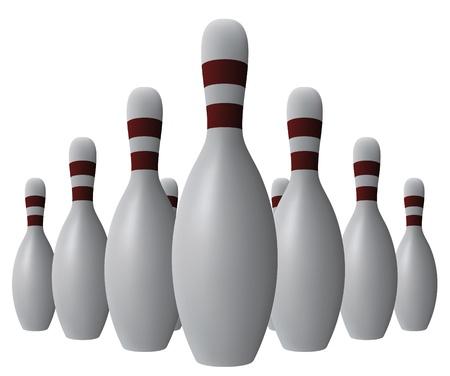 strike: Vector ten bowling pins