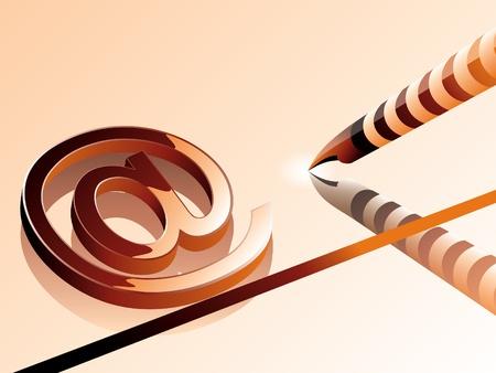 digitized: AT-s�mbolo con la pluma ordenador