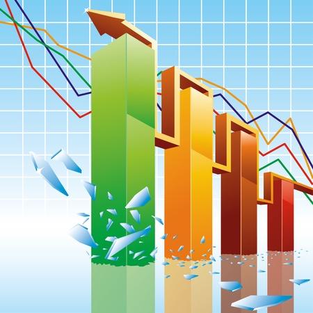 staaf diagram: Shiny 3D-staafdiagram Stock Illustratie