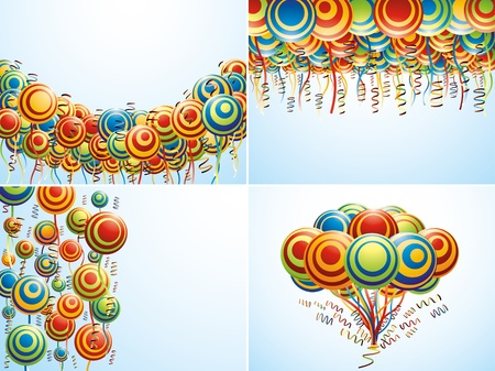 mid air: Cuatro composici�n con globos creativos Vectores