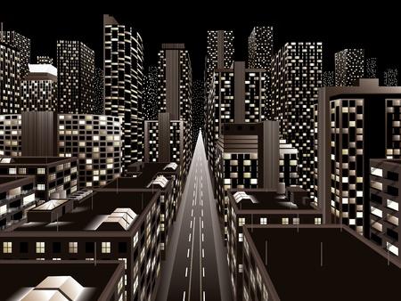 photo realism: Night city  Illustration