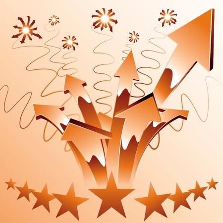 curve arrow: Orange fireworks arrows