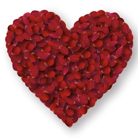Rose petals heart  Illustration