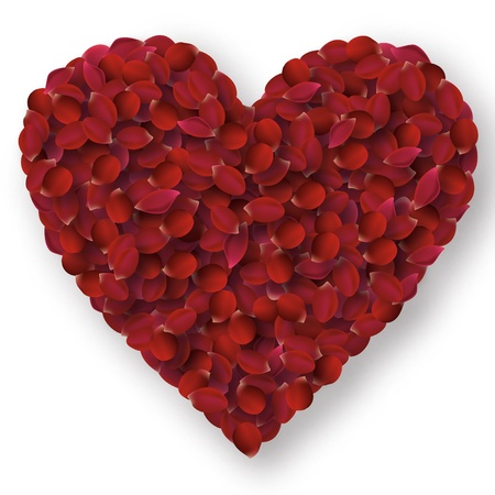 Rose petals heart  Stock Vector - 13327077