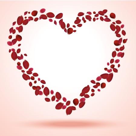 rose frame: Rose petals heart