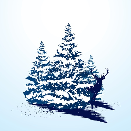 snow tree: Grunge christmas card