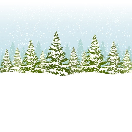 winter tree silhouette: Christmas card  Eps8  Illustration