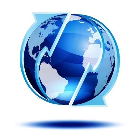 화살표가있는 파란색 지구본