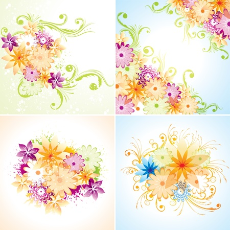 Four floral designs  Eps8  Flatten transparency   Vector