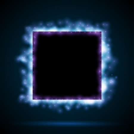 neon lights: Square border with blue lights
