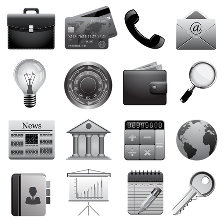 Detailed business icons Stock Vector - 16627444