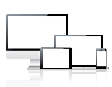 Computer monitor, smartphone, laptop and tablet pc Vector