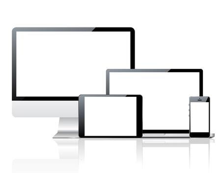 ordinateur de bureau: Écran d'ordinateur, pc smartphone, ordinateur portable et tablette