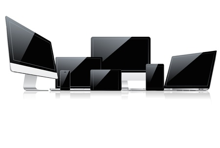 ordinateur bureau: Ensemble de p�riph�riques Illustration